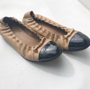 CHANEL ballet flats 37 7 tan black cap toe shoes